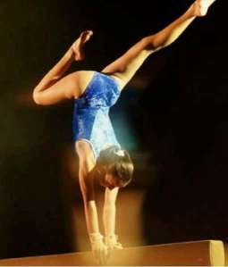 Gymnast in handstand