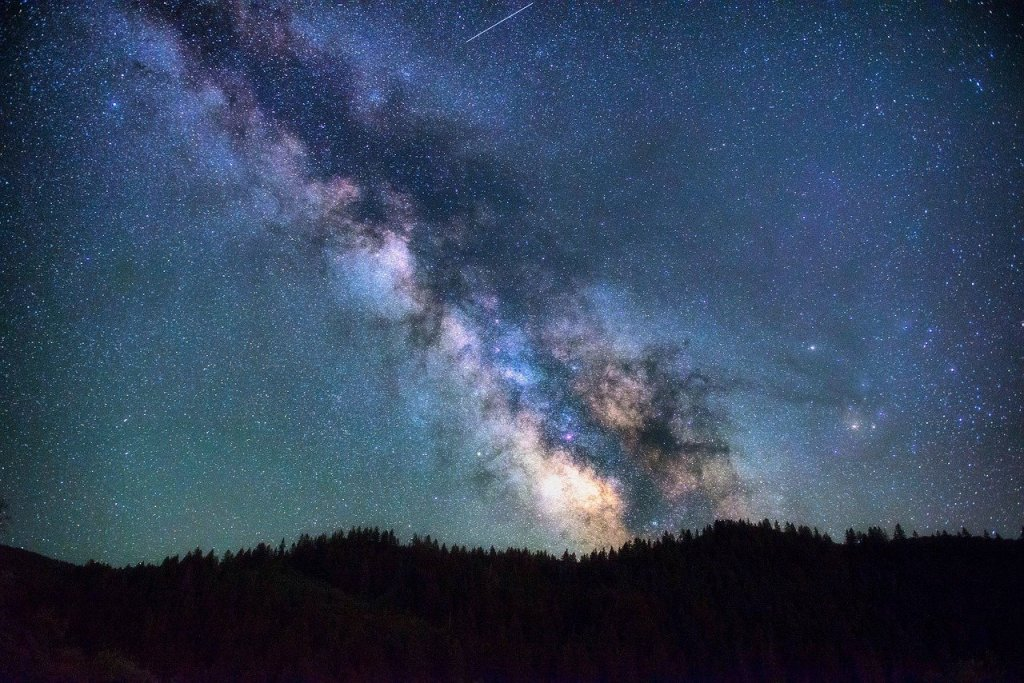Photo of the Milky Way in the night sky.